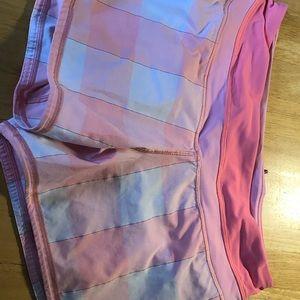 Lululemon pink and white plaid shorts